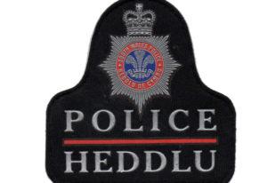 Logo Heddlu'r De yn siap helmed